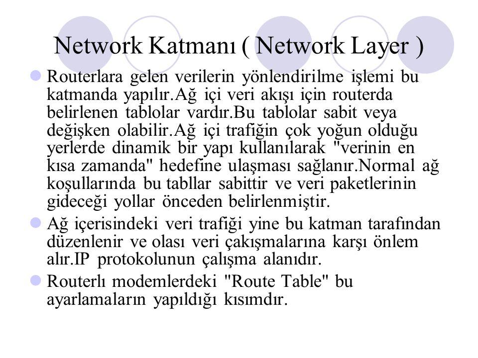 Network Katmanı ( Network Layer ) Routerlara gelen verilerin yönlendirilme işlemi bu katmanda yapılır.Ağ içi veri akışı için routerda belirlenen tablolar vardır.Bu tablolar sabit veya değişken olabilir.Ağ içi trafiğin çok yoğun olduğu yerlerde dinamik bir yapı kullanılarak verinin en kısa zamanda hedefine ulaşması sağlanır.Normal ağ koşullarında bu tabllar sabittir ve veri paketlerinin gideceği yollar önceden belirlenmiştir.