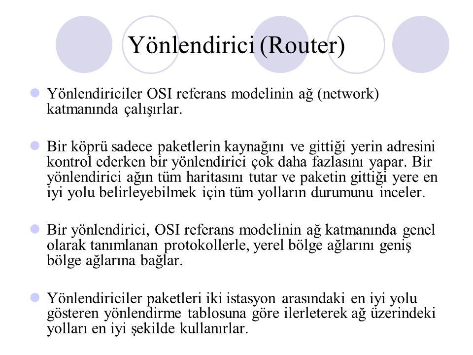 Yönlendirici (Router) Yönlendiriciler OSI referans modelinin ağ (network) katmanında çalışırlar.