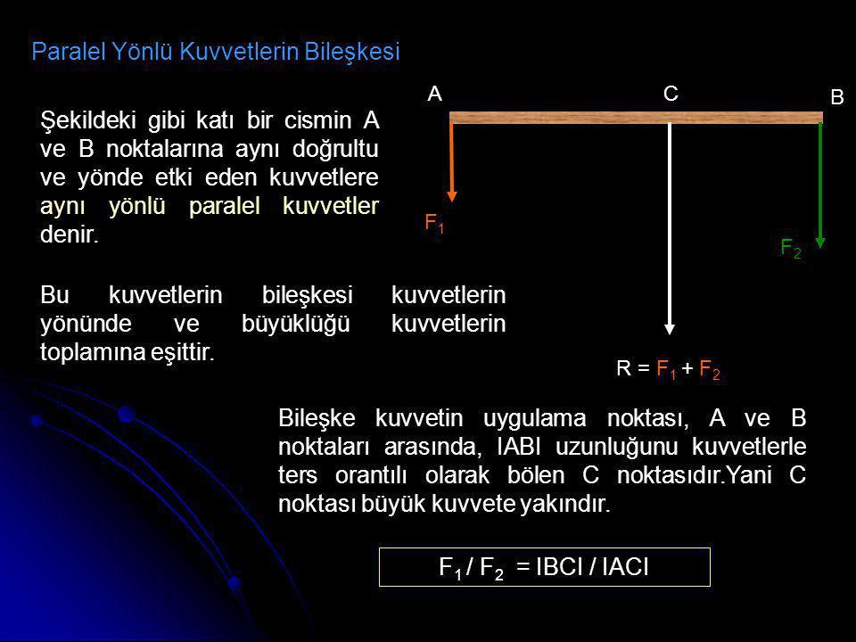 Paralel Yönlü Kuvvetlerin Bileşkesi A B C F1F1 F2F2 R = F 1 + F 2 Şekildeki gibi katı bir cismin A ve B noktalarına aynı doğrultu ve yönde etki eden k