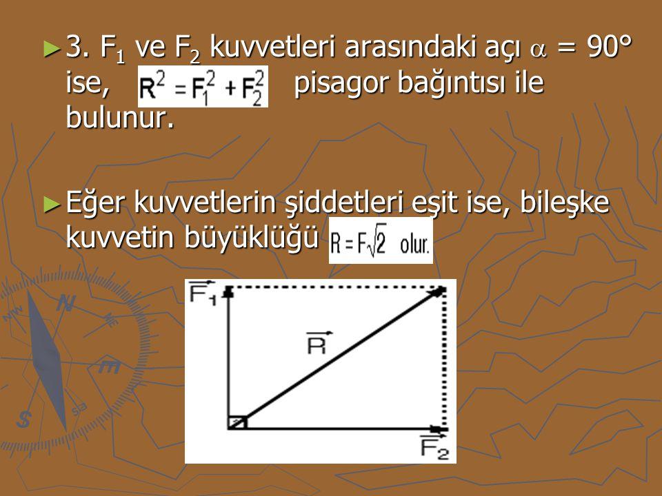 ► 3. F 1 ve F 2 kuvvetleri arasındaki açı  = 90° ise, pisagor bağıntısı ile bulunur. ► Eğer kuvvetlerin şiddetleri eşit ise, bileşke kuvvetin büyüklü