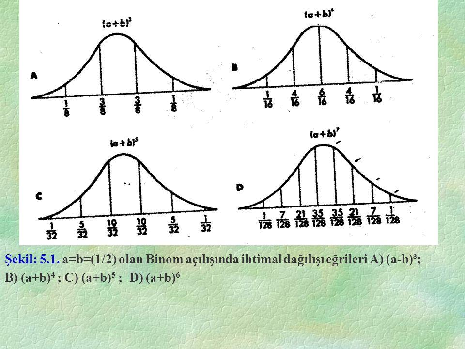 Şekil: 5.1. a=b=(1/2) olan Binom açılışında ihtimal dağılışı eğrileri A) (a-b)³; B) (a+b) 4 ; C) (a+b) 5 ; D) (a+b) 6