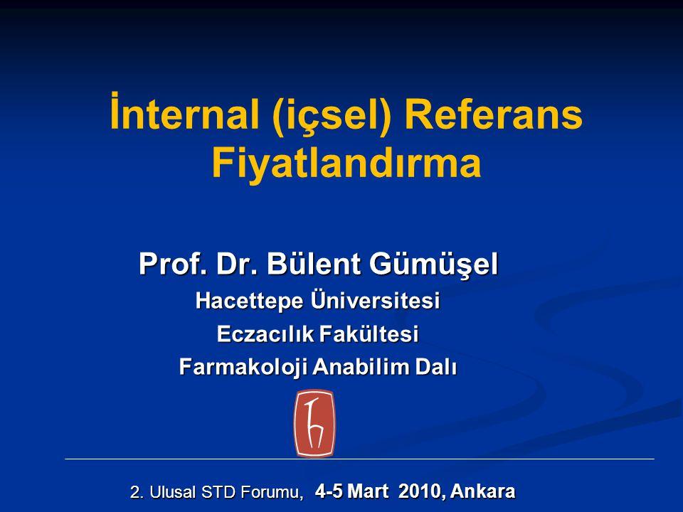İnternal (içsel) Referans Fiyatlandırma Prof. Dr. Bülent Gümüşel Hacettepe Üniversitesi Eczacılık Fakültesi Farmakoloji Anabilim Dalı 2. Ulusal STD Fo