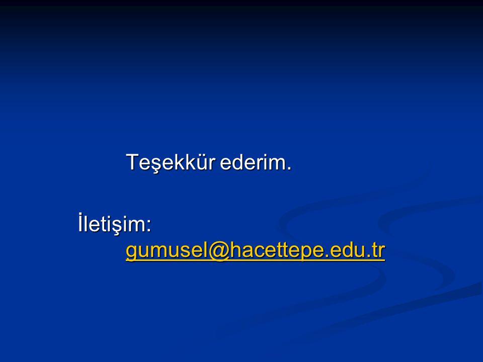 Teşekkür ederim. İletişim: gumusel@hacettepe.edu.tr gumusel@hacettepe.edu.tr