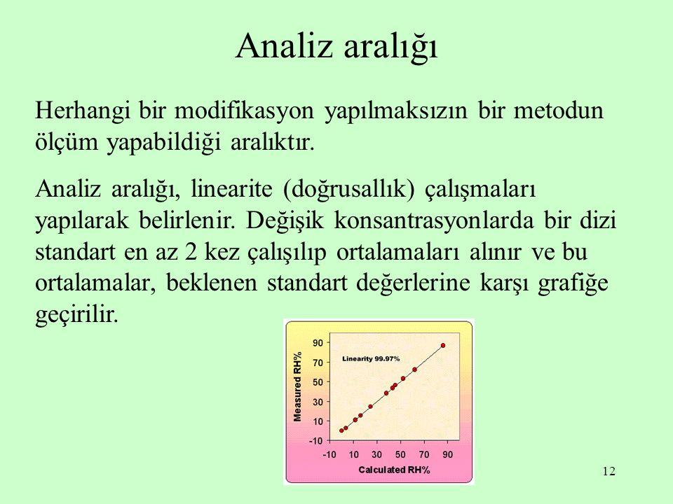 12 Analiz aralığı Herhangi bir modifikasyon yapılmaksızın bir metodun ölçüm yapabildiği aralıktır. Analiz aralığı, linearite (doğrusallık) çalışmaları