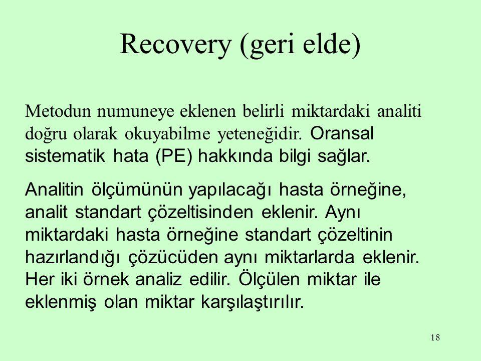 18 Recovery (geri elde) Metodun numuneye eklenen belirli miktardaki analiti doğru olarak okuyabilme yeteneğidir. Oransal sistematik hata (PE) hakkında