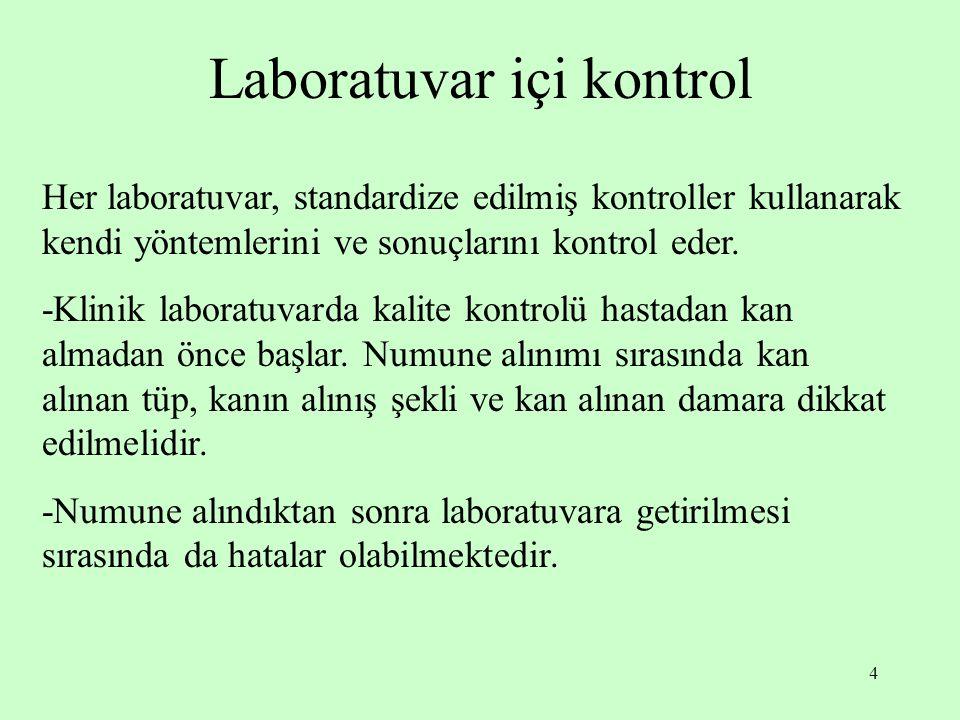 4 Laboratuvar içi kontrol Her laboratuvar, standardize edilmiş kontroller kullanarak kendi yöntemlerini ve sonuçlarını kontrol eder. -Klinik laboratuv
