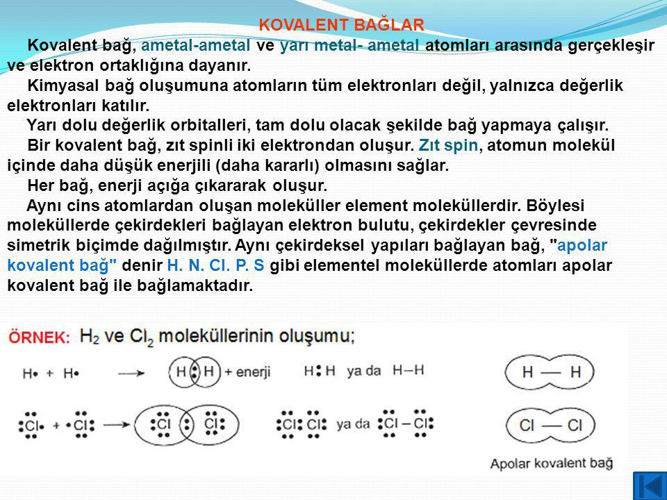 KOVALENT BAĞLAR Kovalent bağ, ametal-ametal ve yarı metal- ametal atomları arasında gerçekleşir ve elektron ortaklığına dayanır. Kimyasal bağ oluşumun
