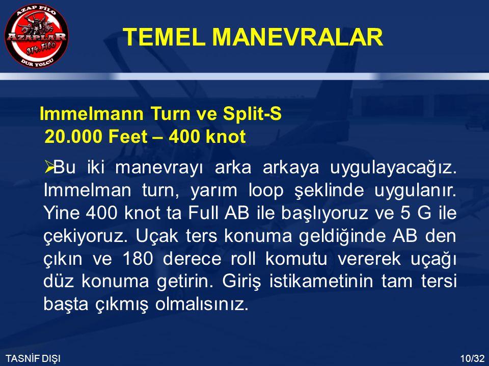 TEMEL MANEVRALAR TASNİF DIŞI10/32 Immelmann Turn ve Split-S 20.000 Feet – 400 knot  Bu iki manevrayı arka arkaya uygulayacağız. Immelman turn, yarım