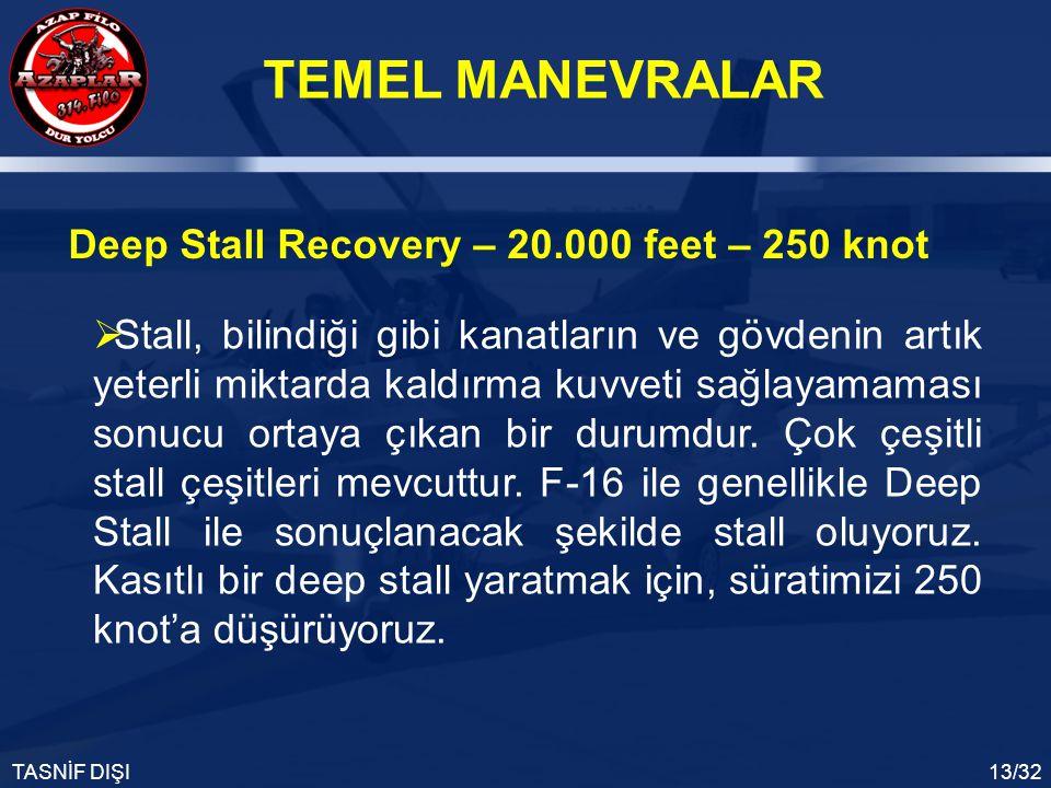 TEMEL MANEVRALAR TASNİF DIŞI13/32 Deep Stall Recovery – 20.000 feet – 250 knot  Stall, bilindiği gibi kanatların ve gövdenin artık yeterli miktarda k