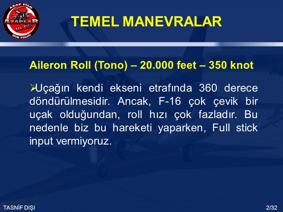 TEMEL MANEVRALAR TASNİF DIŞI2/32  Uçağın kendi ekseni etrafında 360 derece döndürülmesidir. Ancak, F-16 çok çevik bir uçak olduğundan, roll hızı çok