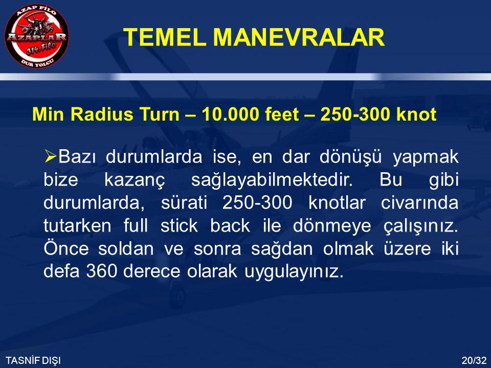 TEMEL MANEVRALAR TASNİF DIŞI20/32 Min Radius Turn – 10.000 feet – 250-300 knot  Bazı durumlarda ise, en dar dönüşü yapmak bize kazanç sağlayabilmekte
