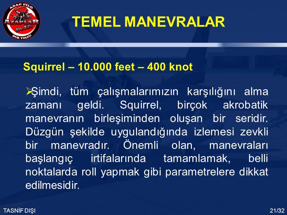 TEMEL MANEVRALAR TASNİF DIŞI21/32 Squirrel – 10.000 feet – 400 knot  Şimdi, tüm çalışmalarımızın karşılığını alma zamanı geldi. Squirrel, birçok akro