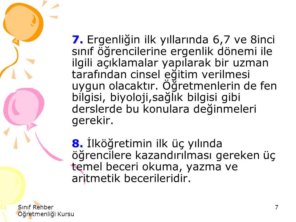 Sınıf Rehber Öğretmenliği Kursu 8 9.10. 9.