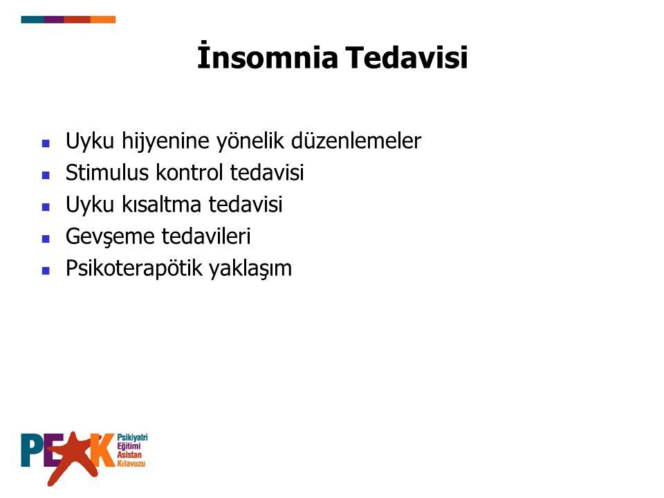 İnsomnia Tedavisi Uyku hijyenine yönelik düzenlemeler Stimulus kontrol tedavisi Uyku kısaltma tedavisi Gevşeme tedavileri Psikoterapötik yaklaşım