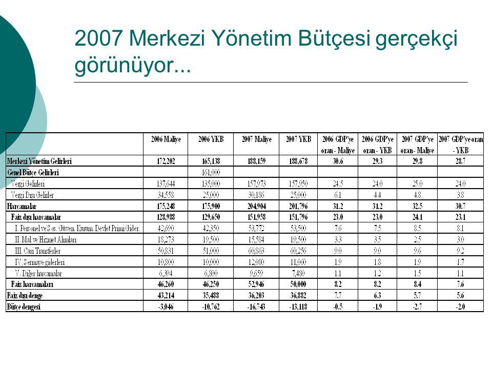 2007 Merkezi Yönetim Bütçesi gerçekçi görünüyor...