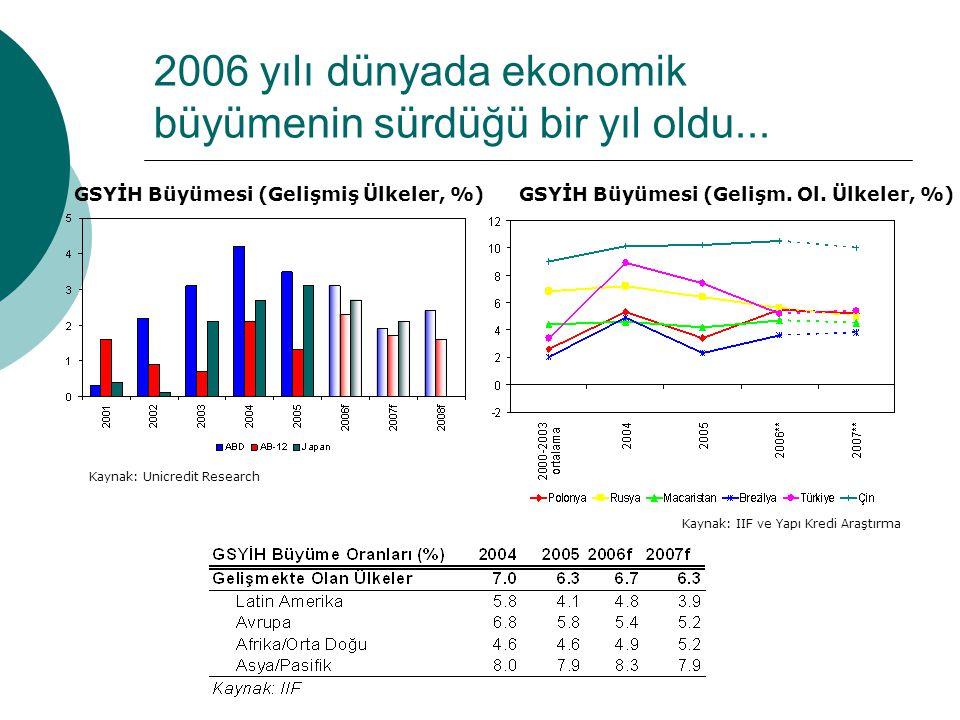 2006 yılı dünyada ekonomik büyümenin sürdüğü bir yıl oldu...