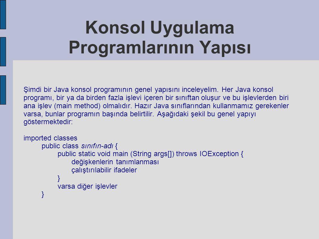 Konsol Uygulama Programlarının Yapısı Şimdi bir Java konsol programının genel yapısını inceleyelim. Her Java konsol programı, bir ya da birden fazla i