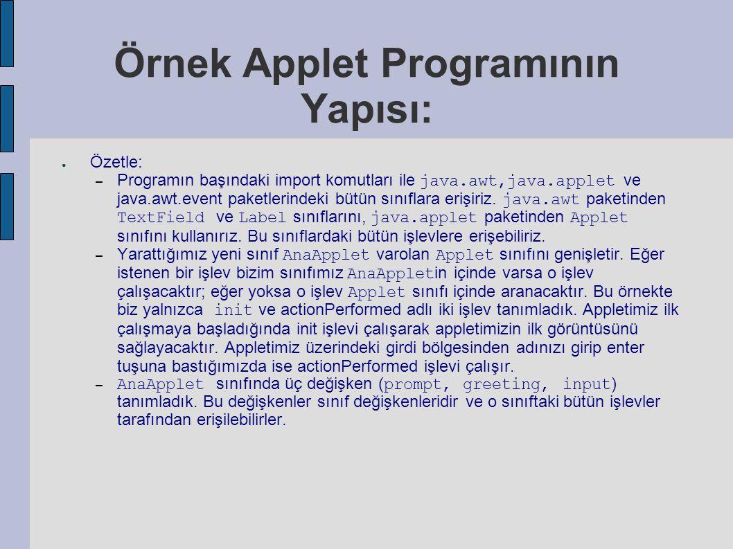 Örnek Applet Programının Yapısı: ● Özetle: – Programın başındaki import komutları ile java.awt,java.applet ve java.awt.event paketlerindeki bütün sınıflara erişiriz.