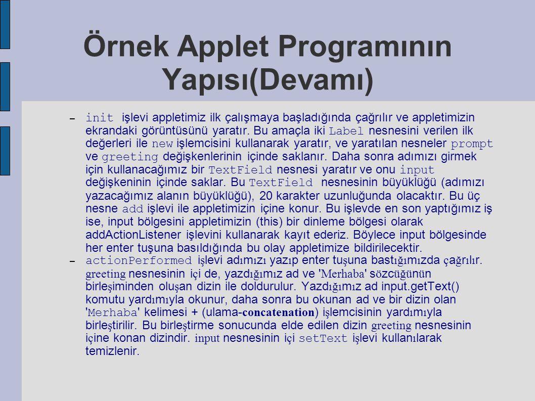 Örnek Applet Programının Yapısı(Devamı) – init işlevi appletimiz ilk çalışmaya başladığında çağrılır ve appletimizin ekrandaki görüntüsünü yaratır. Bu