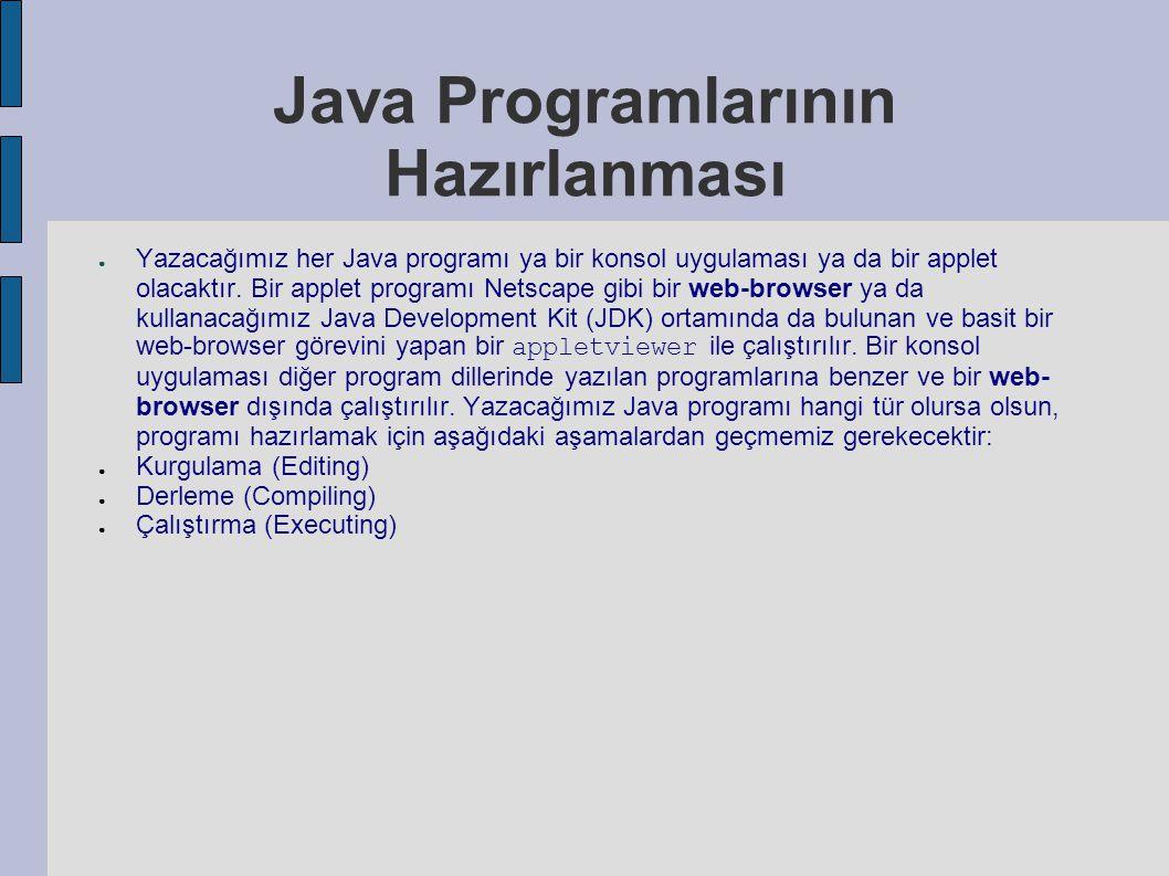 Java Programlarının Hazırlanması ● Yazacağımız her Java programı ya bir konsol uygulaması ya da bir applet olacaktır. Bir applet programı Netscape gib