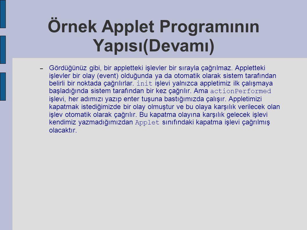 Örnek Applet Programının Yapısı(Devamı) – Gördüğünüz gibi, bir appletteki işlevler bir sırayla çağrılmaz. Appletteki işlevler bir olay (event) olduğun