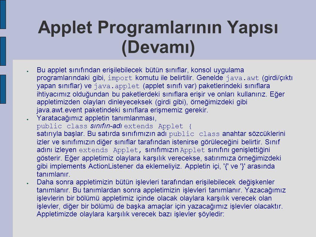 Applet Programlarının Yapısı (Devamı) ● Bu applet sınıfından erişilebilecek bütün sınıflar, konsol uygulama programlarındaki gibi, import komutu ile b