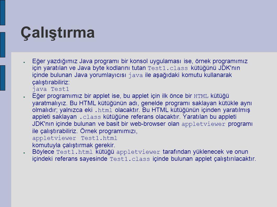 Çalıştırma ● Eğer yazdığımız Java programı bir konsol uygulaması ise, örnek programımız için yaratılan ve Java byte kodlarını tutan Test1.class kütüğü
