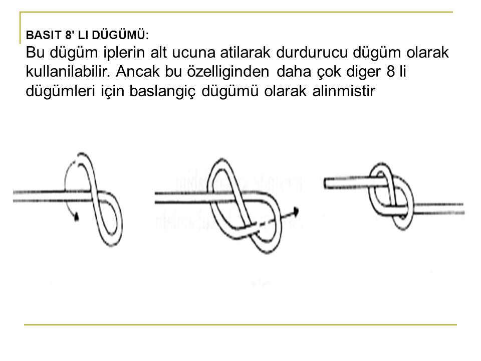 BASIT 8' LI DÜGÜMÜ: Bu dügüm iplerin alt ucuna atilarak durdurucu dügüm olarak kullanilabilir. Ancak bu özelliginden daha çok diger 8 li dügümleri içi