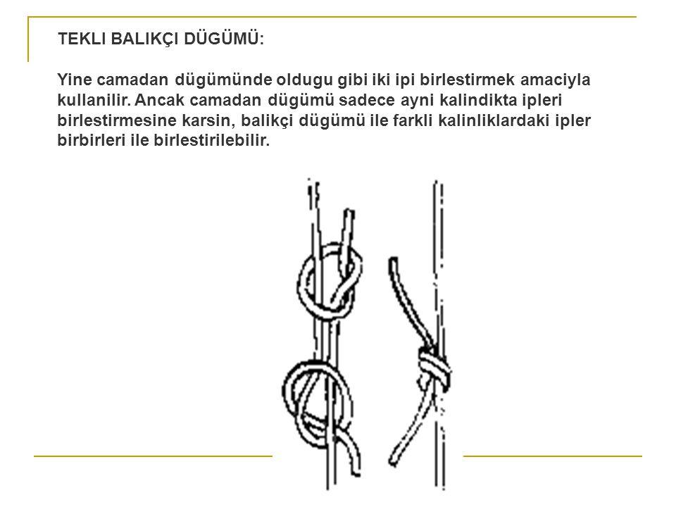 ÇIFTLI BALIKÇI DÜGÜMÜ: Tekli balikçi dügümünde oldugu gibi farkli kalinlarda olan iki ipi birbirine baglamak için kullanilir.