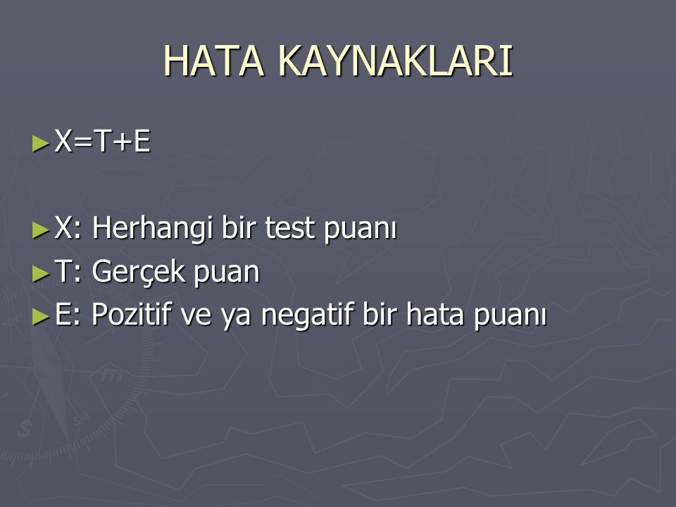 HATA KAYNAKLARI ► X=T+E ► X: Herhangi bir test puanı ► T: Gerçek puan ► E: Pozitif ve ya negatif bir hata puanı