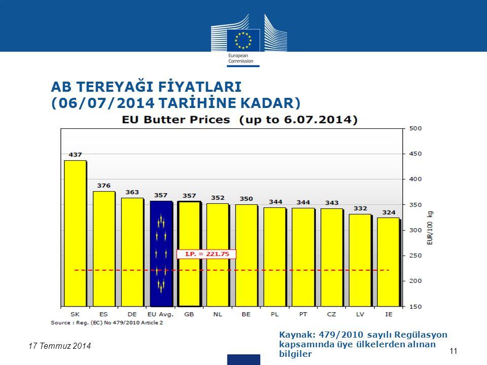 17 Temmuz 2014 11 AB TEREYAĞI FİYATLARI (06/07/2014 TARİHİNE KADAR) Kaynak: 479/2010 sayılı Regülasyon kapsamında üye ülkelerden alınan bilgiler