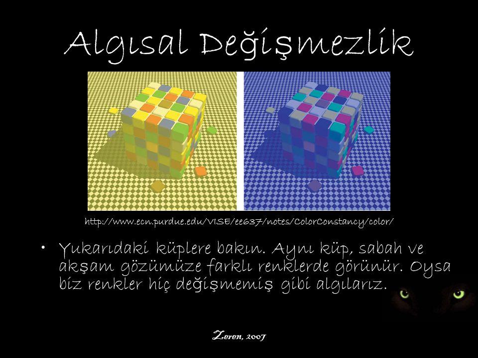 Zeren, 2007 Algısal De ğ i ş mezlik http://www.ecn.purdue.edu/VISE/ee637/notes/ColorConstancy/color/ Yukarıdaki küplere bakın.