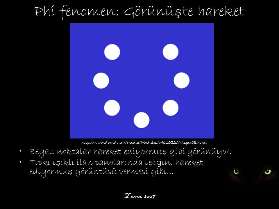 Zeren, 2007 Phi fenomen: Görünü ş te hareket http://www.aber.ac.uk/media/Modules/MC10220/visper08.html Beyaz noktalar hareket ediyormu ş gibi görünüyor.