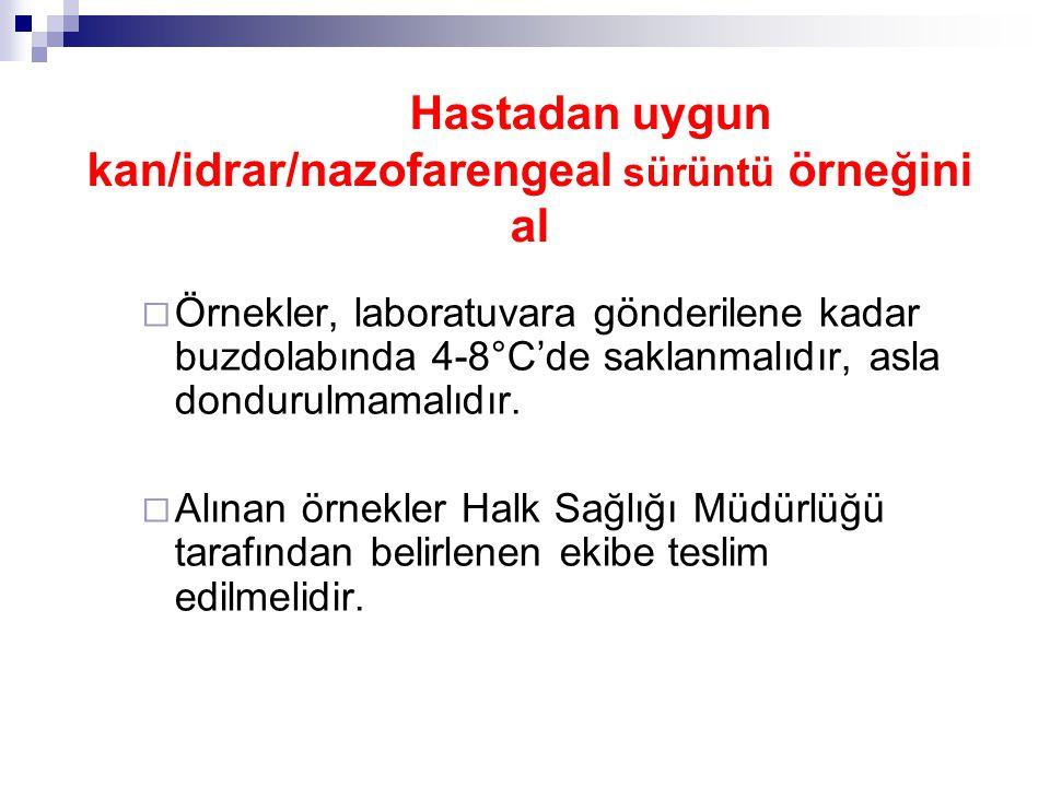 Hastadan uygun kan/idrar/nazofarengeal sürüntü örneğini al  Örnekler, laboratuvara gönderilene kadar buzdolabında 4-8°C'de saklanmalıdır, asla dondurulmamalıdır.