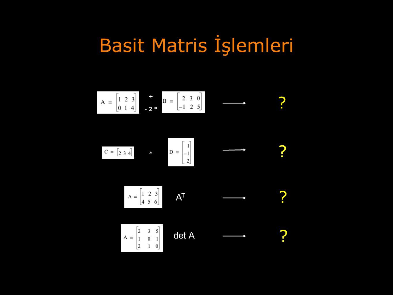 Basit Matris İşlemleri + - - 2 * * ? ? ATAT det A ? ?