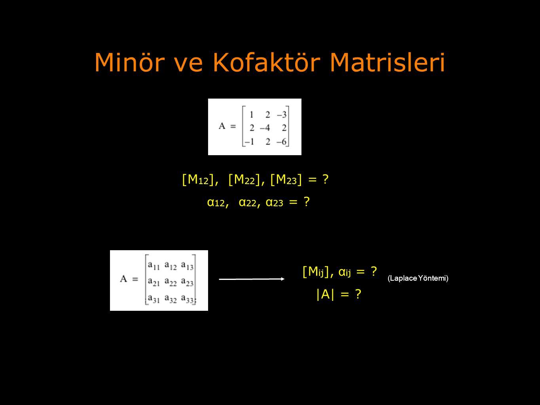 Minör ve Kofaktör Matrisleri [M 12 ], [M 22 ], [M 23 ] = ? α 12, α 22, α 23 = ? [M ij ], α ij = ?  A  = ? (Laplace Yöntemi)