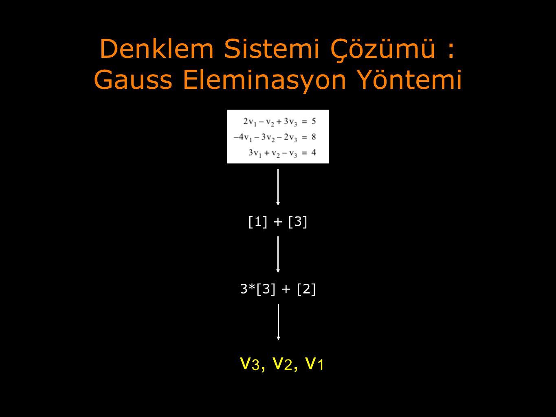 Denklem Sistemi Çözümü : Gauss Eleminasyon Yöntemi [1] + [3] 3*[3] + [2] v 3, v 2, v 1