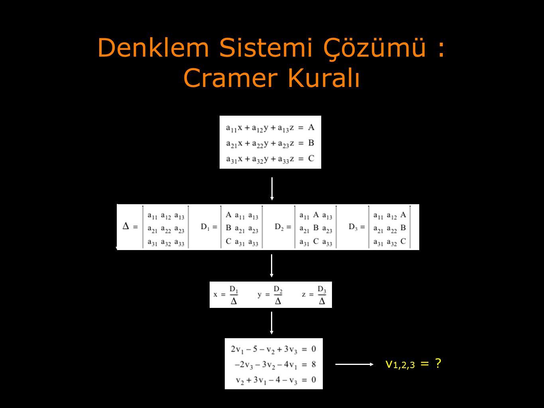 Denklem Sistemi Çözümü : Cramer Kuralı v 1,2,3 = ?