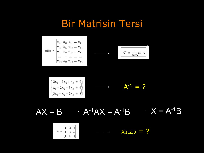 Bir Matrisin Tersi A -1 = ? AX = B A -1 AX = A -1 B X = A -1 B x 1,2,3 = ?
