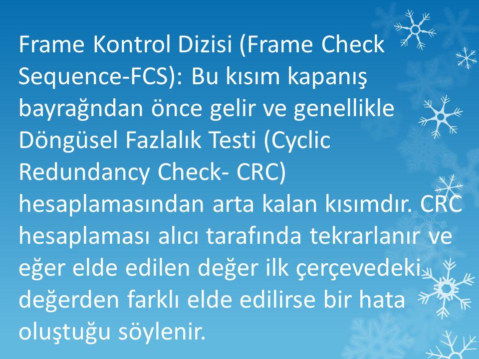 Frame Kontrol Dizisi (Frame Check Sequence-FCS): Bu kısım kapanış bayrağndan önce gelir ve genellikle Döngüsel Fazlalık Testi (Cyclic Redundancy Check- CRC) hesaplamasından arta kalan kısımdır.