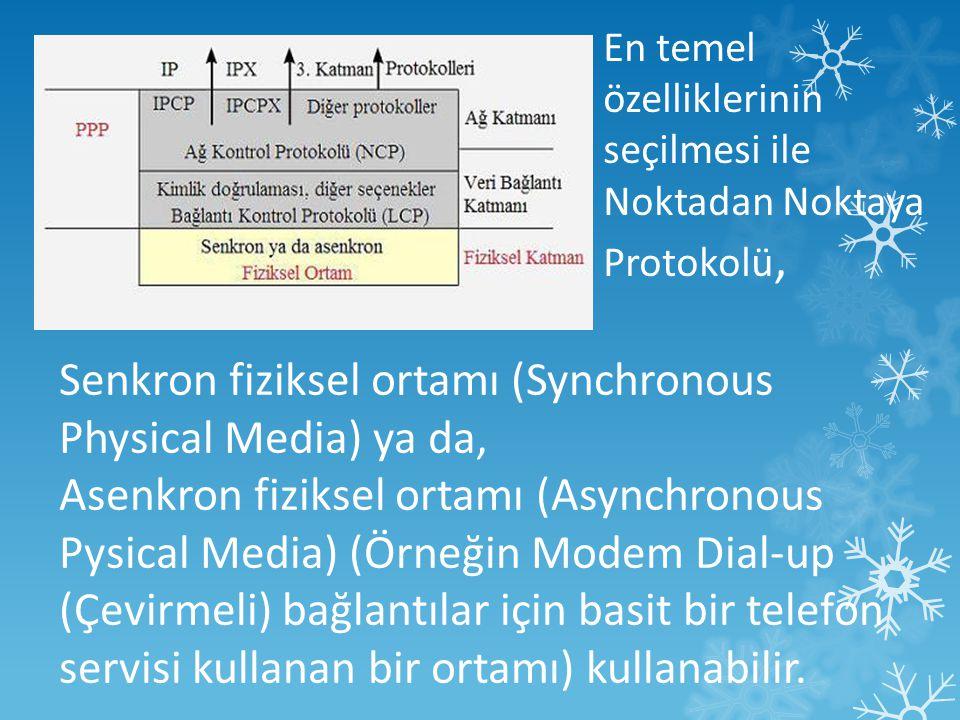 En temel özelliklerinin seçilmesi ile Noktadan Noktaya Protokolü, Senkron fiziksel ortamı (Synchronous Physical Media) ya da, Asenkron fiziksel ortamı (Asynchronous Pysical Media) (Örneğin Modem Dial-up (Çevirmeli) bağlantılar için basit bir telefon servisi kullanan bir ortamı) kullanabilir.