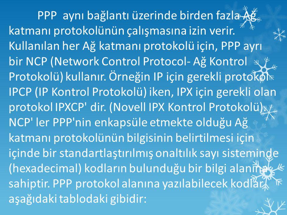 PPP aynı bağlantı üzerinde birden fazla Ağ katmanı protokolünün çalışmasına izin verir.