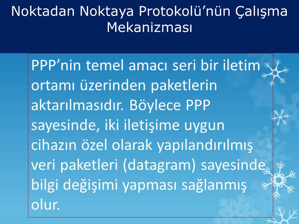 PPP'nin temel amacı seri bir iletim ortamı üzerinden paketlerin aktarılmasıdır.