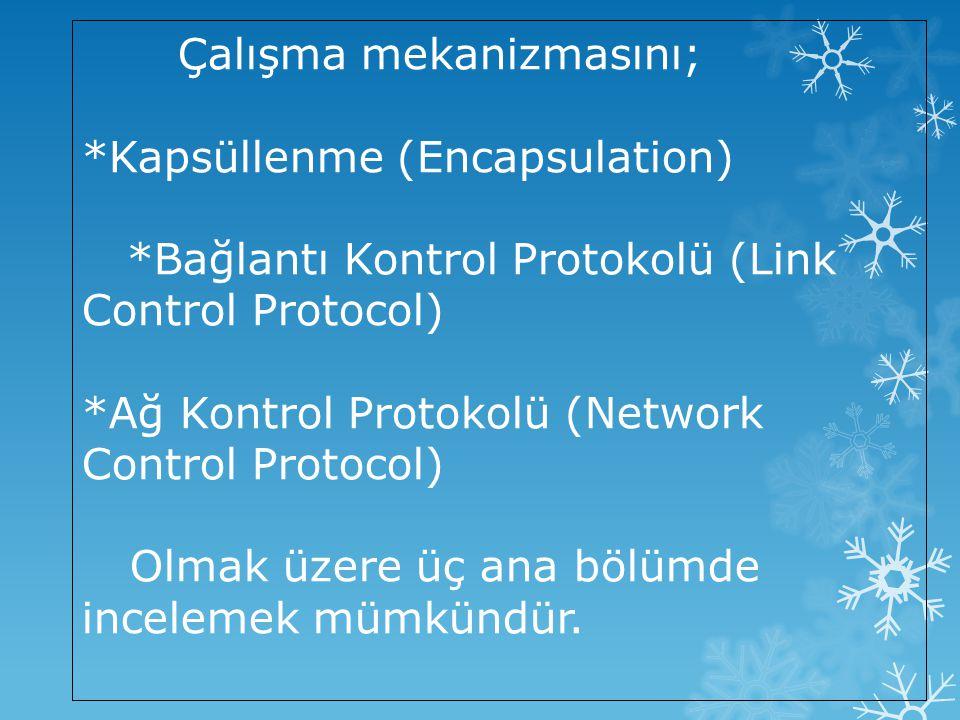 Kod (Onaltılı sayı sisteminde)Protokol Adı 8021 IP Kontrol Protokolü 8023 OSI Ağ Katmanı Kontrol Protokolü 8029 Appletalk Kontrol Protokolü 802b Novell IPX Kontrol Protokolü c021 Bağlantı Kontrol Protokolü c023 Şifre Onaylama Protokolü c223 Sorun Çözme Kimlik Doğrulaması Protokolü Her NCP kendi Ağ kontrol protokolü için gerekli olan belirli ihtiyaçları karşılar.