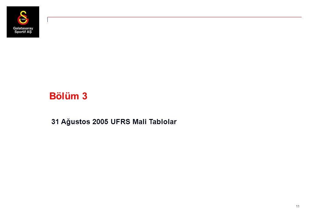 11 Bölüm 3 31 Ağustos 2005 UFRS Mali Tablolar