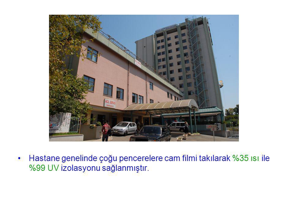 Hastane genelinde çoğu pencerelere cam filmi takılarak %35 ısı ile %99 UV izolasyonu sağlanmıştır.
