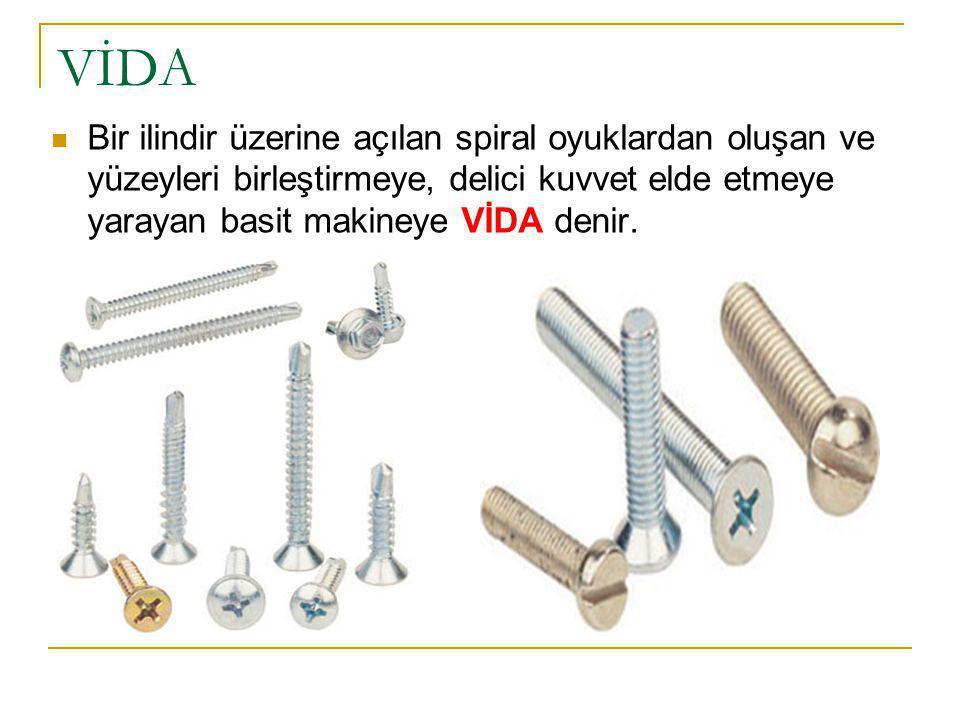 VİDA Bir ilindir üzerine açılan spiral oyuklardan oluşan ve yüzeyleri birleştirmeye, delici kuvvet elde etmeye yarayan basit makineye VİDA denir.