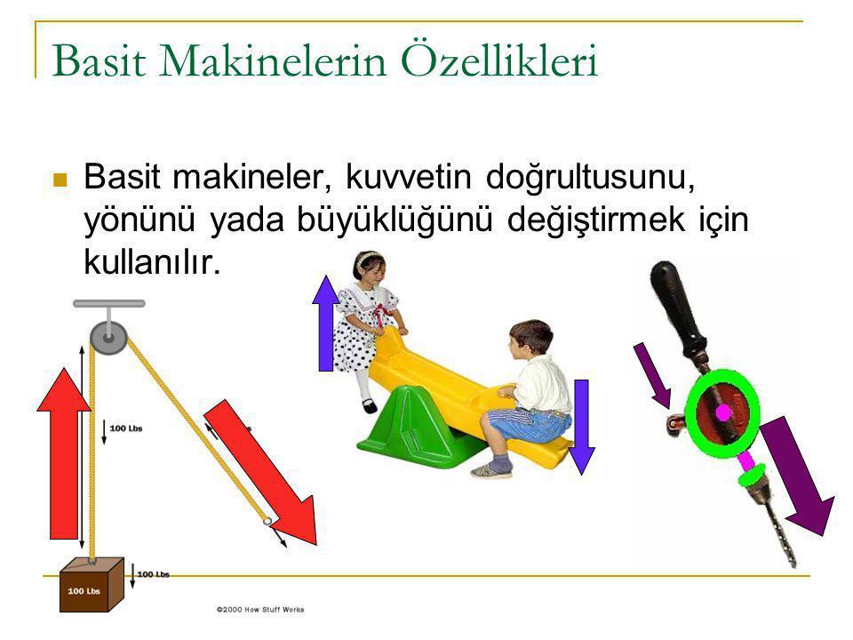 Basit Makinelerin Özellikleri Basit makineler, kuvvetin doğrultusunu, yönünü yada büyüklüğünü değiştirmek için kullanılır.
