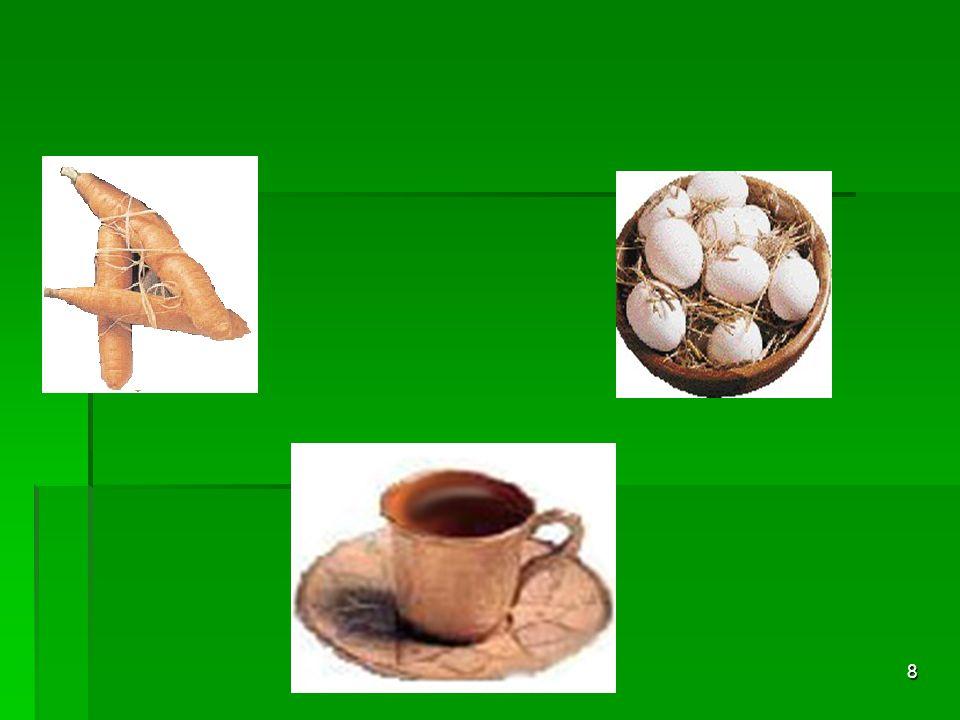 7 Birinci kaba bir havuç, diğerine bir adet yumurta, diğerine ise de bir avuç çekilmemiş kahve çekirdeği koymuş.