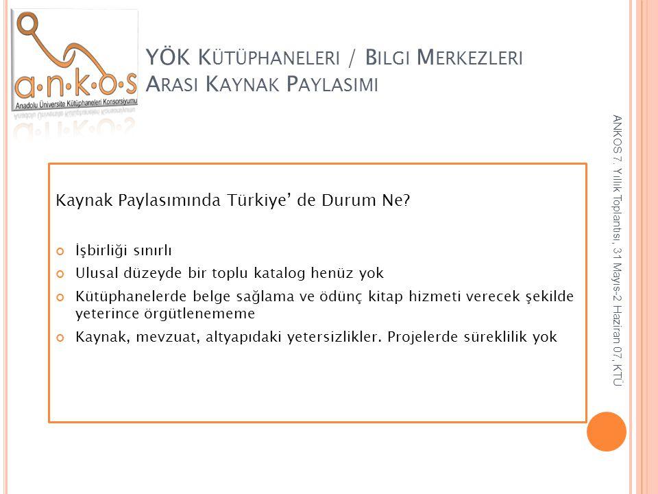 YÖK K ÜTÜPHANELERI / B ILGI M ERKEZLERI A RASI K AYNAK P AYLASIMI Kaynak Paylasımında Türkiye' de Durum Ne? İşbirliği sınırlı Ulusal düzeyde bir toplu